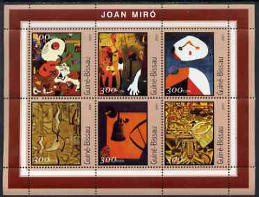 Guinea - Bissau 2001 Paintings by Joan Miro perf sheetlet containing 6 values unmounted mint Mi 1606-11