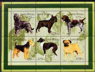 Guinea - Bissau 2001 Dogs #1 perf sheetlet containing 6 values (275 FCFA) unmounted mint Mi 1565-70