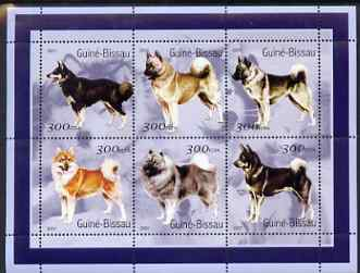Guinea - Bissau 2001 Dogs #2 perf sheetlet containing 6 values (300 FCFA) unmounted mint Mi 1571-76