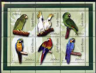 Guinea - Bissau 2001 Parrots perf sheetlet containing 6 values (200 FCFA) unmounted mint Mi 1422-27