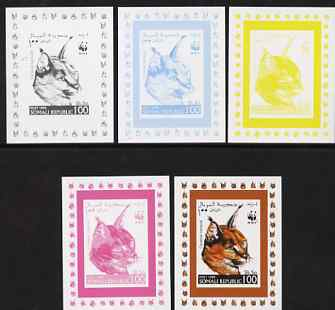 Somalia 1998 WWF - Caracal 100s the set of 5 imperf progressive proofs comprising the 4 individual colours plus all 4-colour composite, unmounted mint