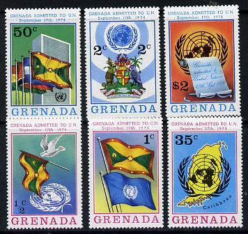 Grenada 1975 Admission to the UN set of 6 unmounted mint, SG 687-92, stamps on maps  united-nations