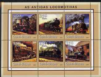 Guinea - Bissau 2001 Locomotives - Steam #1 perf sheetlet containing 6 values (350 FCFA) unmounted mint Mi 1719-24