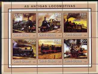 Guinea - Bissau 2001 Locomotives - Steam #2 perf sheetlet containing 6 values (350 FCFA) unmounted mint Mi 1725-30