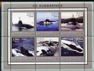 Guinea - Bissau 2001 Submarines perf sheetlet containing 6 values (350 FCFA) unmounted mint Mi 1713-18