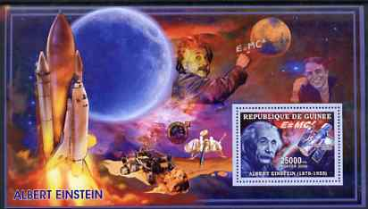 Guinea - Conakry 2006 Albert Einstein perf s/sheet #1 containing 1 value (Space Shuttle & Hubble Telescope) unmounted mint Yv 319