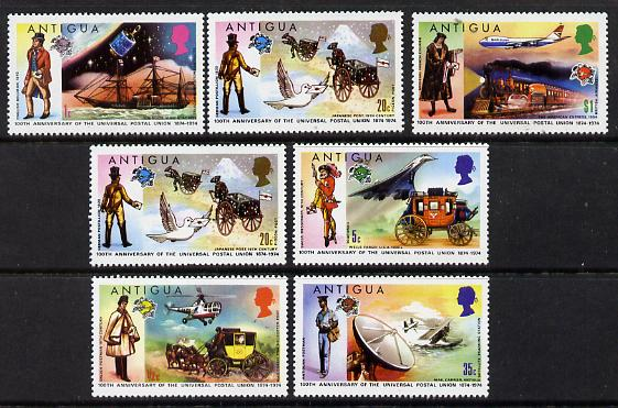 Antigua 1974 Centenary of Universal Postal Union set of 7 unmounted mint, SG 386-92, stamps on aviation   postal  science  ships  space  transport  upu    postman     concorde      helicopter    seaplane