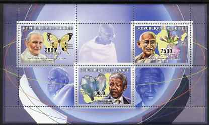 Guinea - Conakry 2006 The Humanitarians perf sheetlet containing 3 values (Pope, Gandhi & Mandela) unmounted mint Yv 2697-99