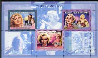 Guinea - Conakry 2006 Marilyn Monroe perf sheetlet #1 containing 3 values unmounted mint Yv 2691-93