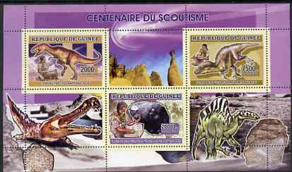 Guinea - Conakry 2006 Centenary of Scouting perf sheetlet #01 containing 3 values (Dinosaurs & Minerals) unmounted mint Yv 2703-05