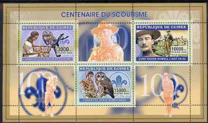 Guinea - Conakry 2006 Centenary of Scouting perf sheetlet #02 containing 3 values (Owls) unmounted mint Yv 2706-08
