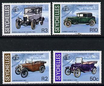 Seychelles 1985 Vintage Cars set of 4 unmounted mint, SG 628-31 (blocks or gutter pairs pro-rata)