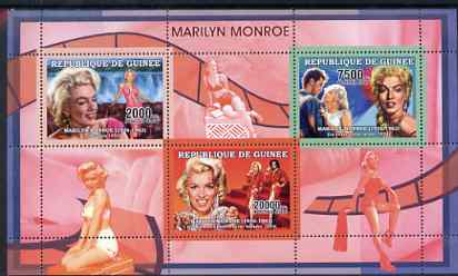 Guinea - Conakry 2006 Marilyn Monroe perf sheetlet #3 containing 3 values unmounted mint Yv 2730-32