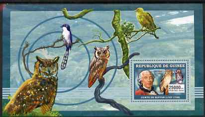 Guinea - Conakry 2006 Ornithologusts (Birds) perf s/sheet #3 containing 1 value (Buffon) unmounted mint Yv 363, stamps on personalities, stamps on birds, stamps on birds of prey, stamps on owls