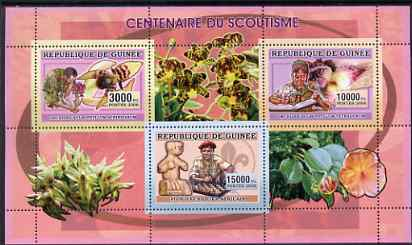 Guinea - Conakry 2006 Centenary of Scouting perf sheetlet #03 containing 3 values (Orchids & Chess) unmounted mint Yv 2736-38