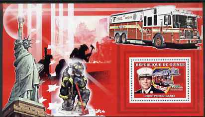 Guinea - Conakry 2006 Fire Trucks & Fire Fighters perf s/sheet #2 containing 1 value (Chief Ganci) unmounted mint Yv 374