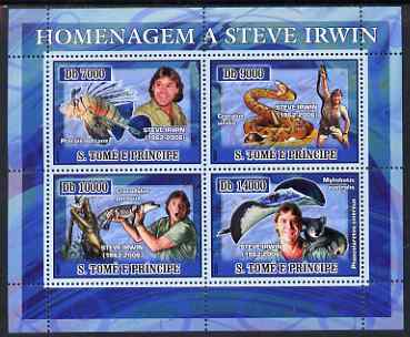 St Thomas & Prince Islands 2007 Tribute to Steve Irwin perf sheetlet containing 4 values unmounted mint