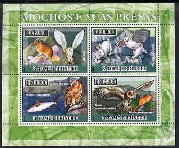 St Thomas & Prince Islands 2007 Owls & Their Prey perf sheetlet containing 4 values unmounted mint