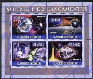 St Thomas & Prince Islands 2007 Space - Sputnk 1 & 2 perf sheetlet containing 4 values unmounted mint
