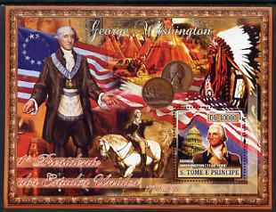 St Thomas & Prince Islands 2007 US Presidents #01 George Washington perf s/sheet containing 1 value unmounted mint , stamps on personalities, stamps on constitutions, stamps on americana, stamps on us presidents, stamps on indians, stamps on horses, stamps on wild west, stamps on coins, stamps on flags