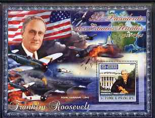 St Thomas & Prince Islands 2007 US Presidents #32 Franklin Roosevelt perf s/sheet containing 1 value unmounted mint