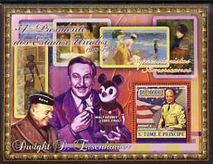 St Thomas & Prince Islands 2007 US Presidents #34 Dwight D Eisenhower perf s/sheet containing 1 value unmounted mint