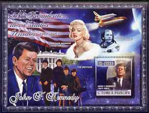 St Thomas & Prince Islands 2007 US Presidents #35 John F Kennedy perf s/sheet containing 1 value unmounted mint