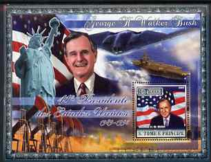 St Thomas & Prince Islands 2007 US Presidents #41 George W Bush perf s/sheet containing 1 value unmounted mint