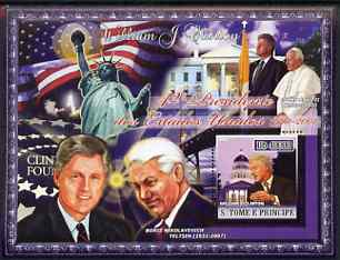 St Thomas & Prince Islands 2007 US Presidents #42 Bill Clinton perf s/sheet containing 1 value unmounted mint