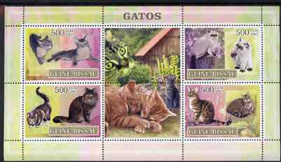Guinea - Bissau 2007 Domestic Cats perf sheetlet containing 4 values & 2 labels unmounted mint