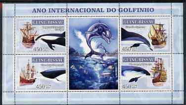 Guinea - Bissau 2007 International Dolphin Year - Tall Ships perf sheetlet containing 4 values & 2 labels unmounted mint