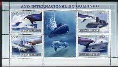 Guinea - Bissau 2007 International Dolphin Year - Submarines perf sheetlet containing 4 values & 2 labels unmounted mint, stamps on whales, stamps on dolphins, stamps on ships, stamps on submarines