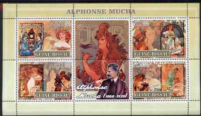 Guinea - Bissau 2007 Alphonse Mucha (artist) perf sheetlet containing 4 values & 2 labels unmounted mint