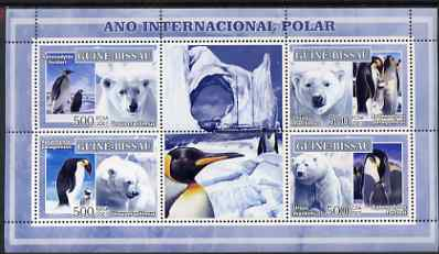 Guinea - Bissau 2007 International Polar Year - Penguins & Bears perf sheetlet containing 4 values & 2 labels unmounted mint