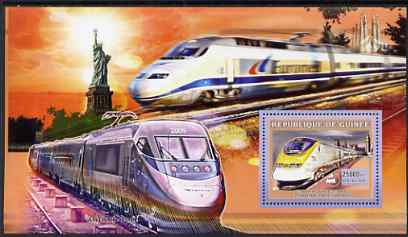 Guinea - Conakry 2006 High Speed Trains large perf s/sheet containing 1 value (Eurostar Paris - London) unmounted mint