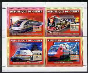 Guinea - Conakry 2006 Chinese Trains perf sheetlet containing 4 values unmounted mint