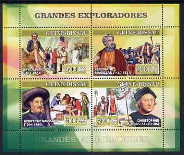 Guinea - Bissau 2007 Explorers #2 perf sheetlet containing 4 values (Livingstone,Magellan, Henry the Navigator & Columbus) unmounted mint, Yv 2306-09