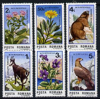 Rumania 1985 Retezat National Park set of 6 (Flowers, Animals, Eagle) unmounted mint Mi 4172-77