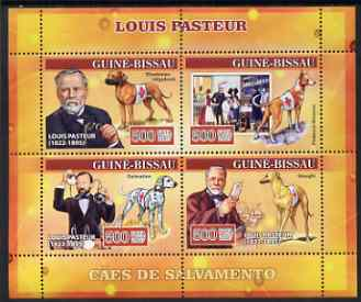 Guinea - Bissau 2007 Louis Pasteur perf sheetlet containing 4 values (Red Cross Dogs) unmounted mint, Yv 2310-13