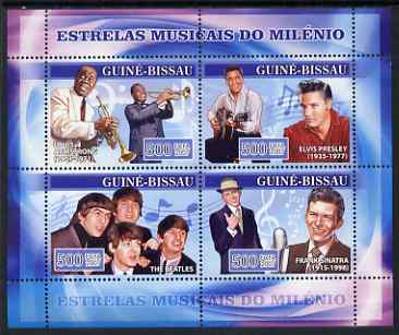 Guinea - Bissau 2007 Music Stars perf sheetlet containing 4 values (L Armstrong, Elvis, Beatles & Sinatra) unmounted mint, Yv 2318-21