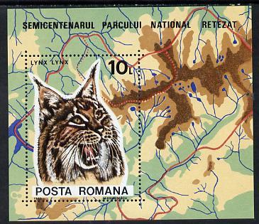 Rumania 1985 Retezat National Park m/sheet (Lynx with Map) unmounted mint Mi BL 218