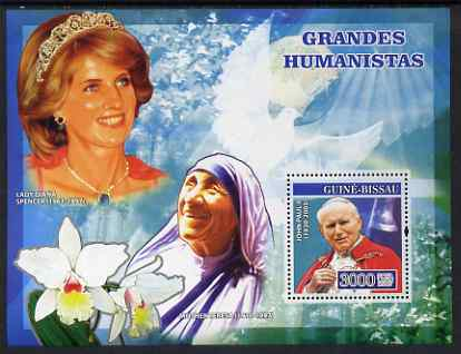 Guinea - Bissau 2007 Humanitarians perf s/sheet containing 1 value (Pope, Mother Teresa & Diana) unmounted mint, Yv 347