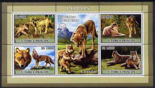 St Thomas & Prince Islands 2007 Wolves perf sheetlet containing 4 values plus label (with Scout logo) unmounted mint
