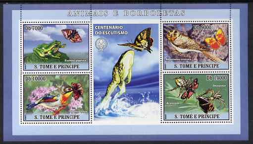 St Thomas & Prince Islands 2007 Animals & Butterflies #1 perf sheetlet containing 4 values plus label (with Scout logo) unmounted mint