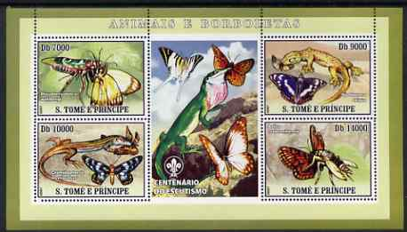 St Thomas & Prince Islands 2007 Animals & Butterflies #2 perf sheetlet containing 4 values plus label (with Scout logo) unmounted mint