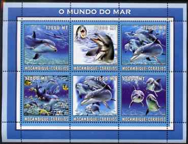 Mozambique 2002 Dolphins perf sheetlet containing 6 values unmounted mint Yv 2126-31