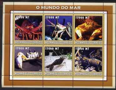 Mozambique 2002 Lobsters perf sheetlet containing 6 values unmounted mint Yv 2216-21