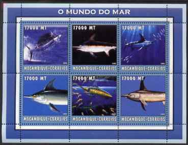 Mozambique 2002 Sword Fish perf sheetlet containing 6 values unmounted mint Yv 2150-55
