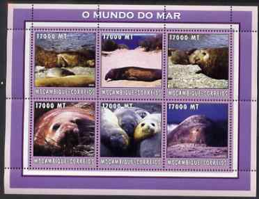 Mozambique 2002 Elephant Seals perf sheetlet containing 6 values unmounted mint Yv 2138-43