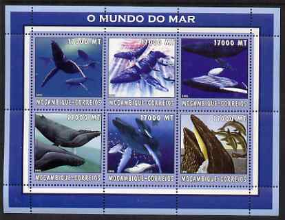 Mozambique 2002 Whales perf sheetlet containing 6 values unmounted mint Yv 2168-73
